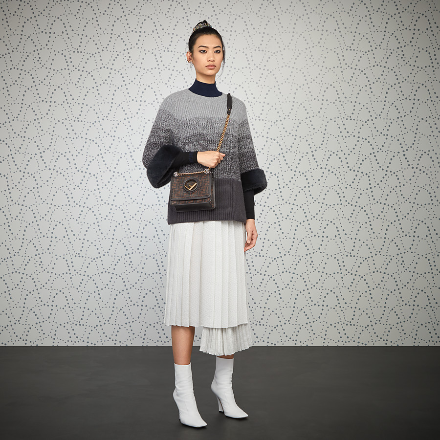 FENDI KAN I F SMALL - Brown tech mesh mini bag - view 2 detail