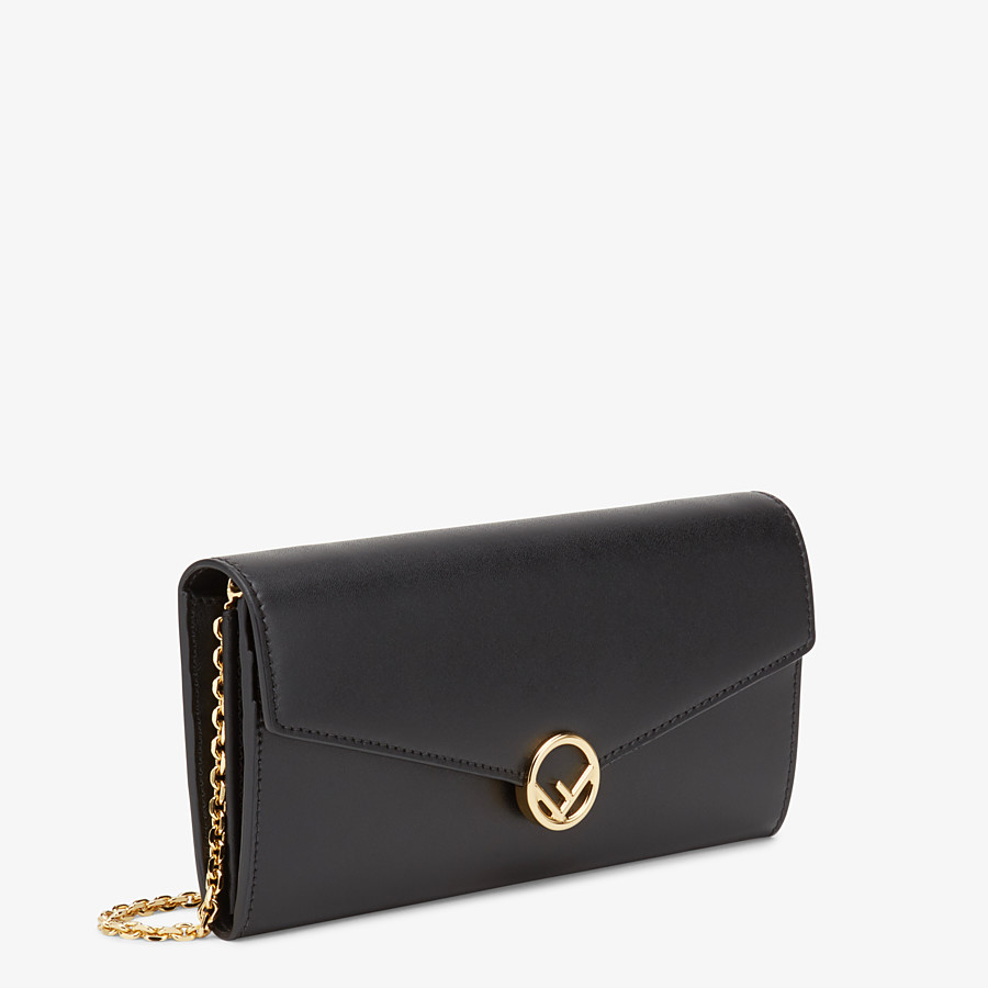 FENDI CONTINENTAL WITH CHAIN - Black leather wallet - view 2 detail