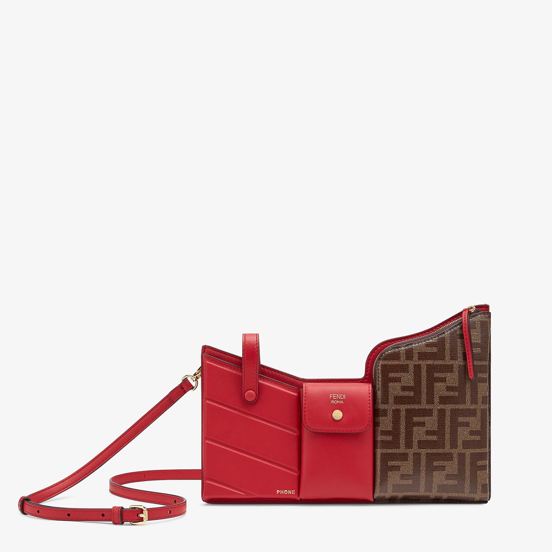 FENDI 3-POCKET MINI BAG - Red leather messenger - view 1 detail