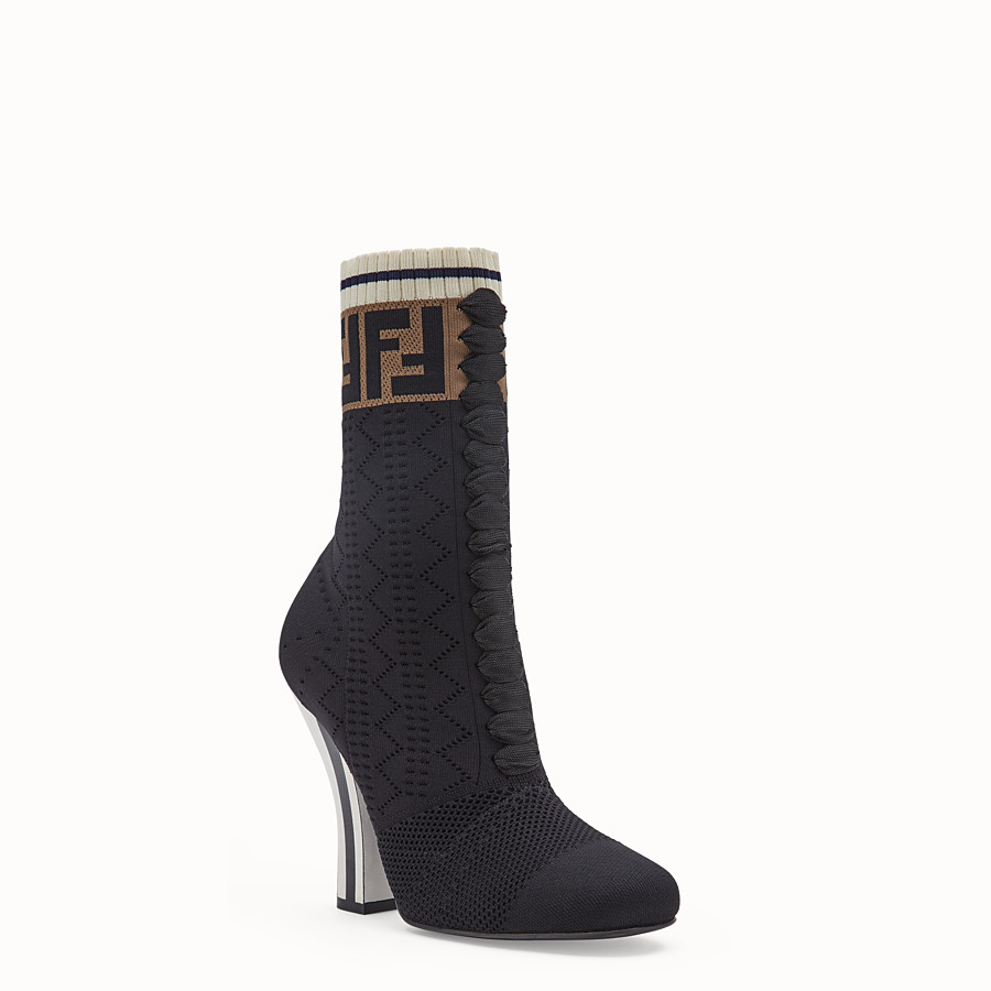 FENDI BOOTS - Black fabric ankle boots - view 2 detail