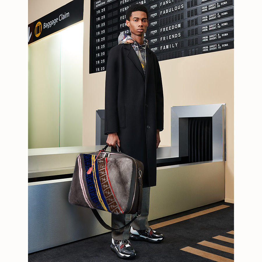 FENDI SUITCASE - Multicolour leather and mink suitcase - view 5 detail