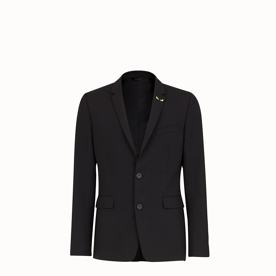 FENDI JACKET - Black wool gabardine blazer - view 1 detail