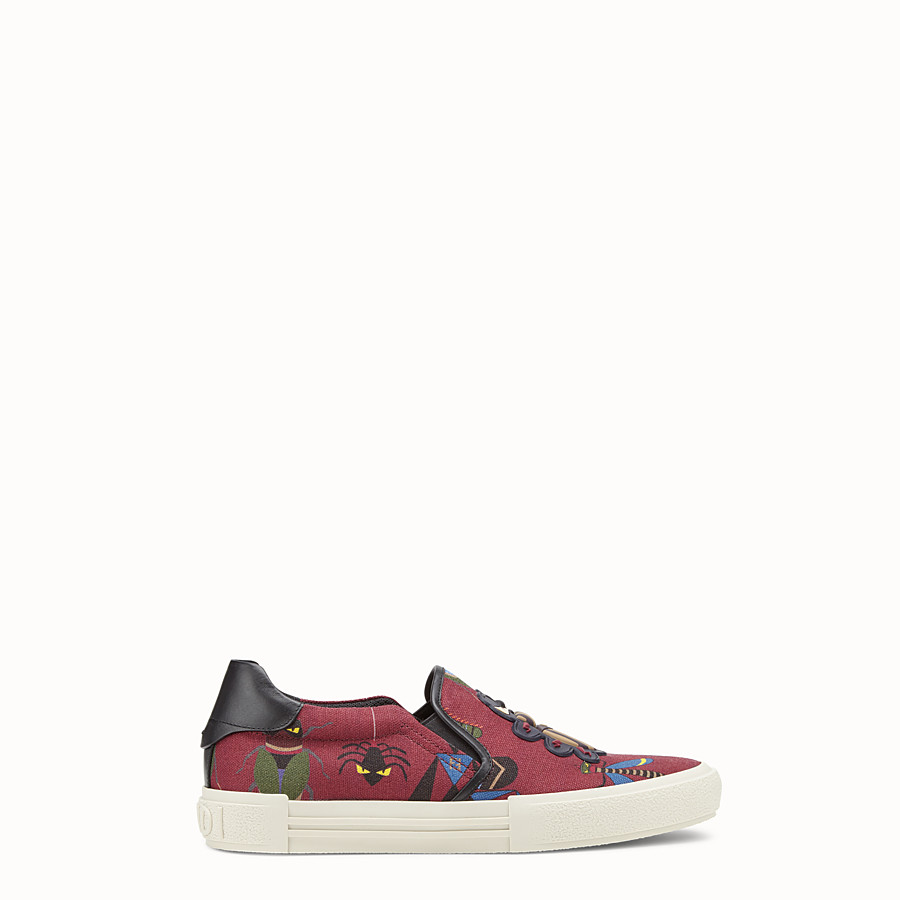 FENDI SNEAKERS - Burgundy canvas slip-ons - view 1 detail