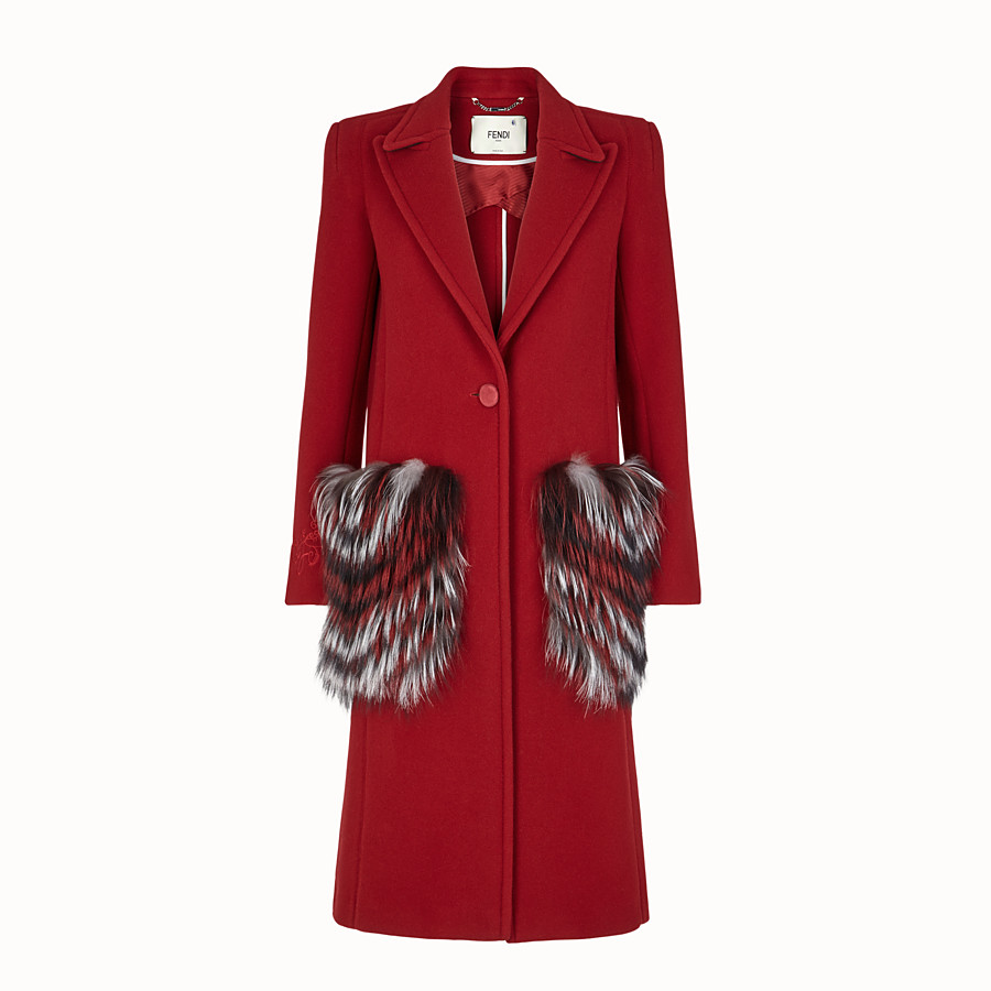 FENDI OVERCOAT - Red wool outerwear - view 1 detail