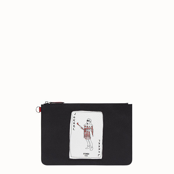 FENDI POUCH - Black leather pochette - view 1 small thumbnail
