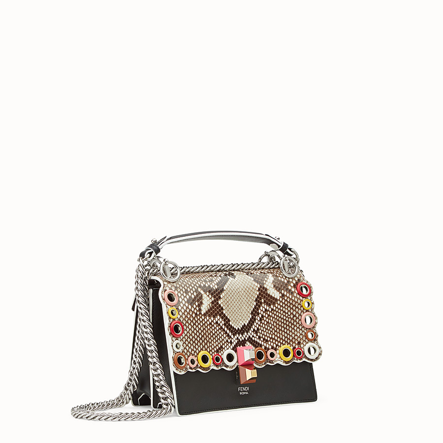 FENDI KAN I SMALL - Exotic black leather mini-bag - view 2 detail