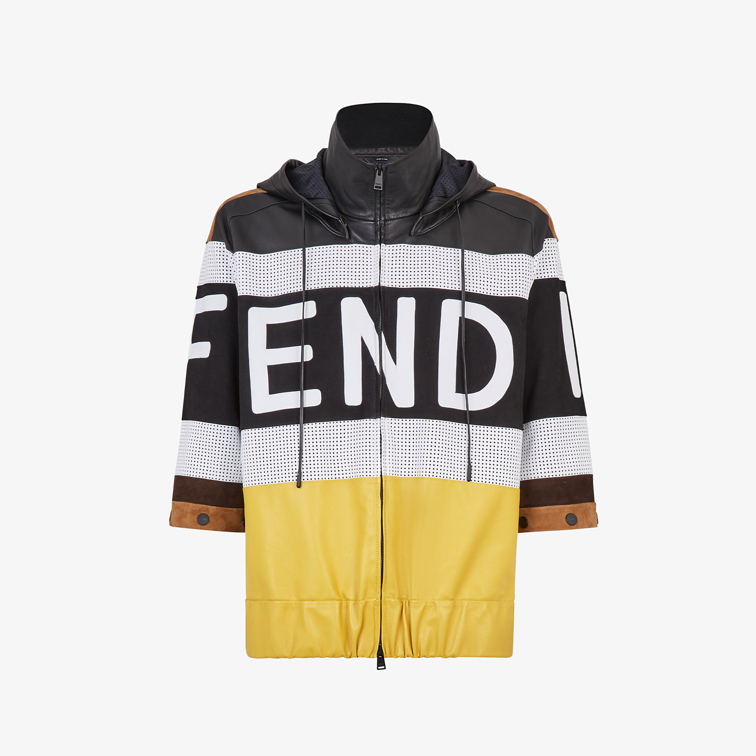 FENDI JACKET - Multicolour leather and suede jacket - view 4 detail
