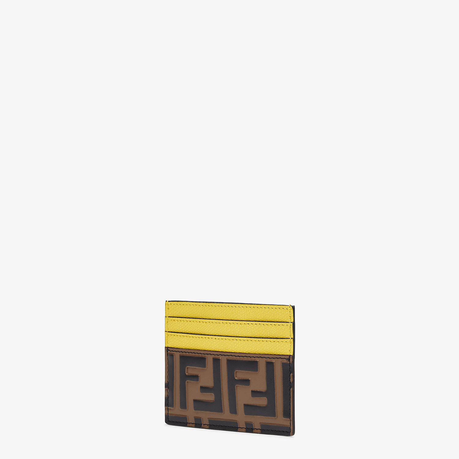 FENDI CARD HOLDER - Yellow leather flat card holder - view 2 detail