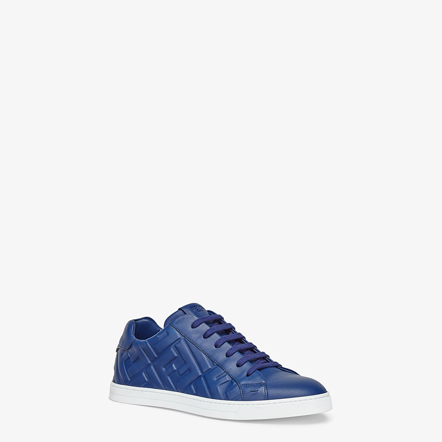 FENDI SNEAKERS - Blue nappa leather low-tops - view 2 detail