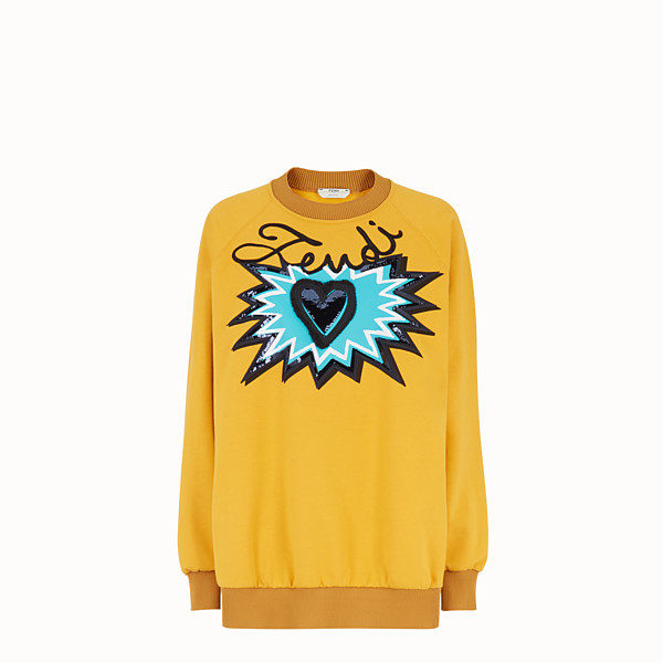 FENDI SWEATSHIRT - Yellow cotton sweatshirt - view 1 small thumbnail