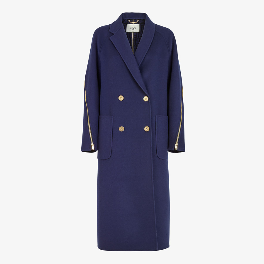 FENDI COAT - Blue wool coat - view 1 detail