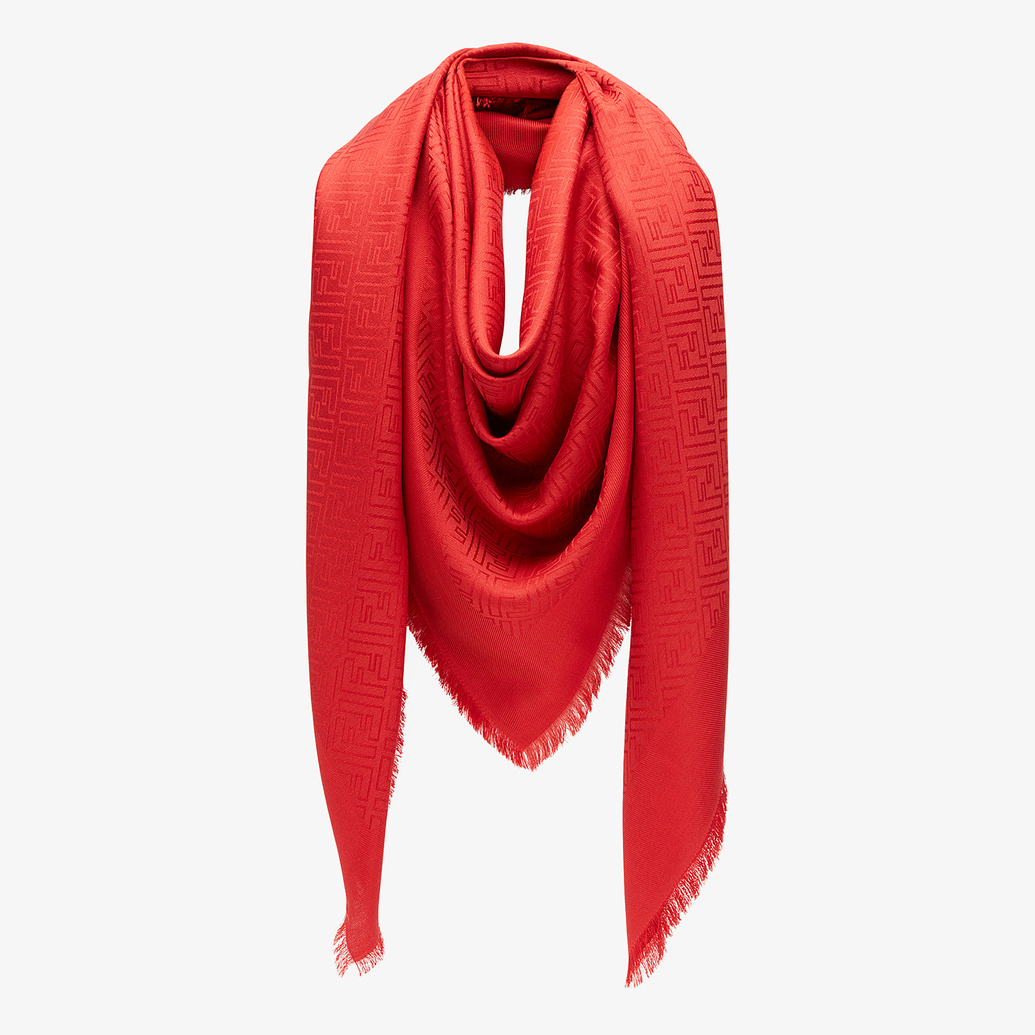 FENDI FF SHAWL - Red silk and wool shawl - view 2 detail
