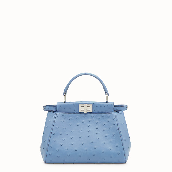 FENDI PEEKABOO MINI - Light blue ostrich bag - view 1 small thumbnail