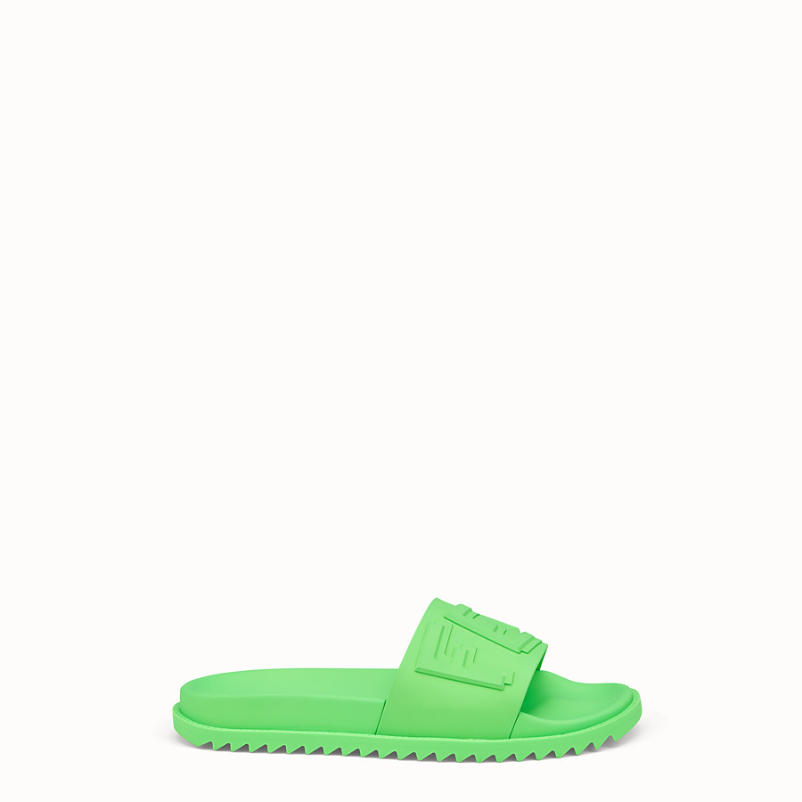 FENDI SLIDES - Fussbetts in green rubber - view 1 detail
