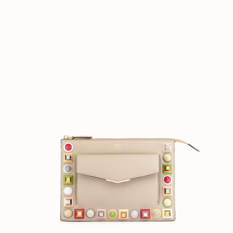 FENDI MINI POUCH - Beige leather mini-bag - view 1 detail