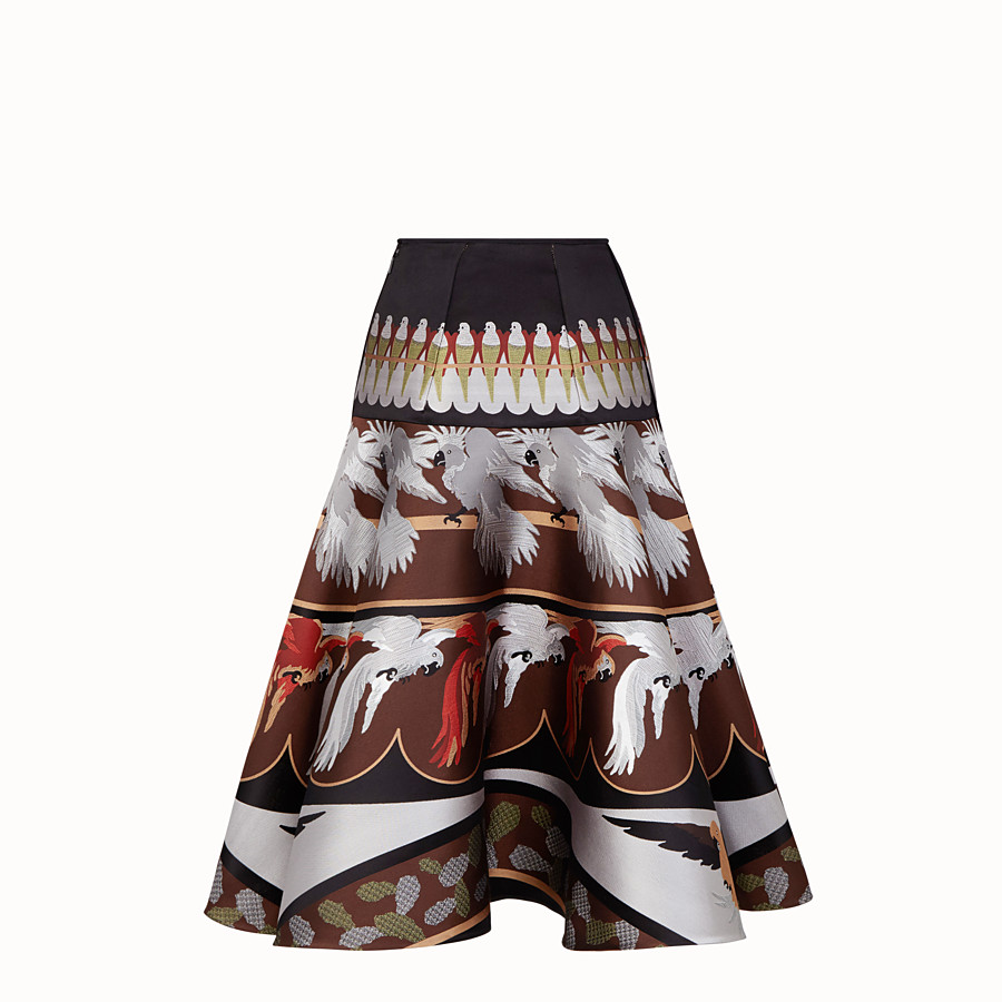 FENDI SKIRT - Multicolour silk skirt - view 2 detail