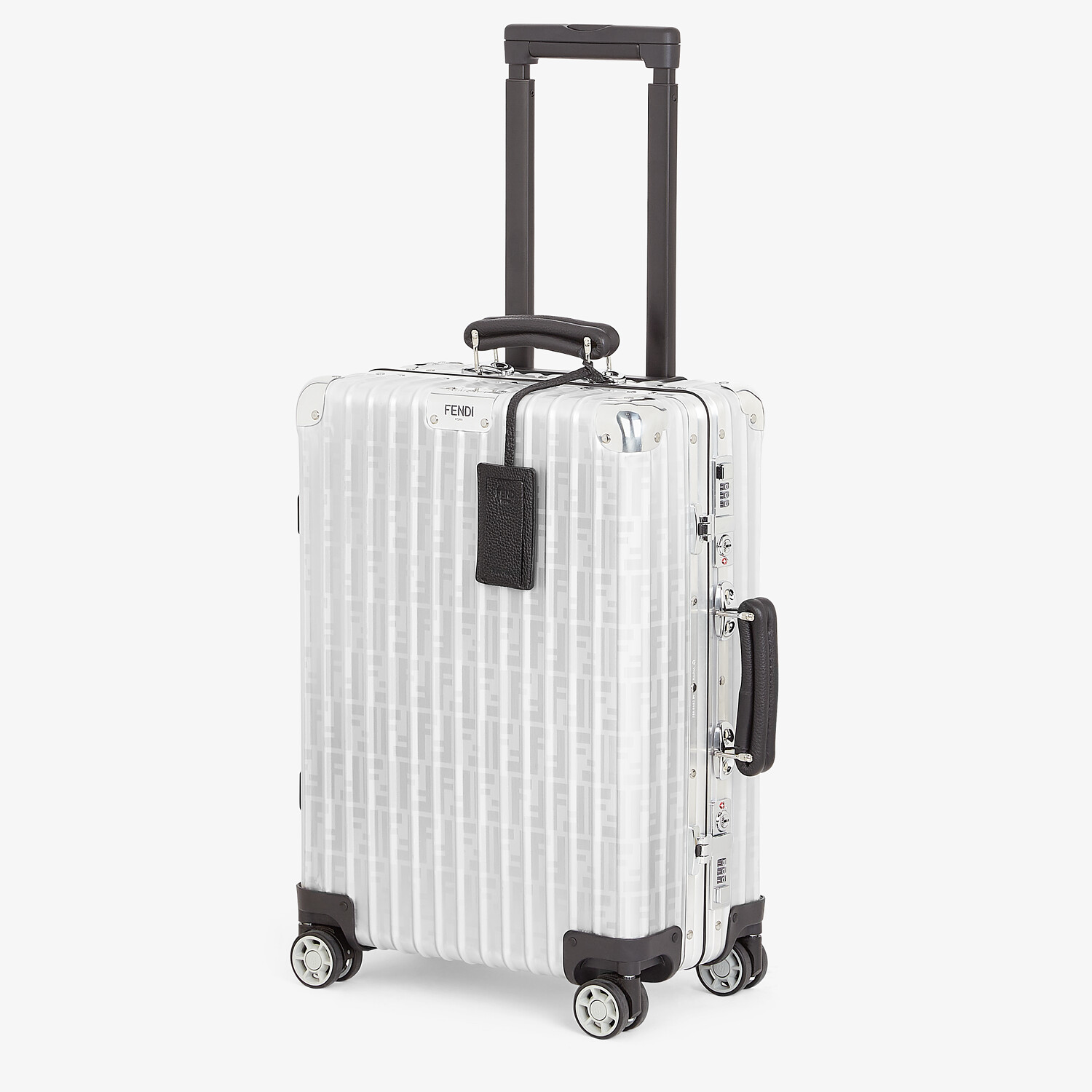 FENDI CABIN SIZE TROLLEY - Aluminum trolley case with leather details - view 2 detail