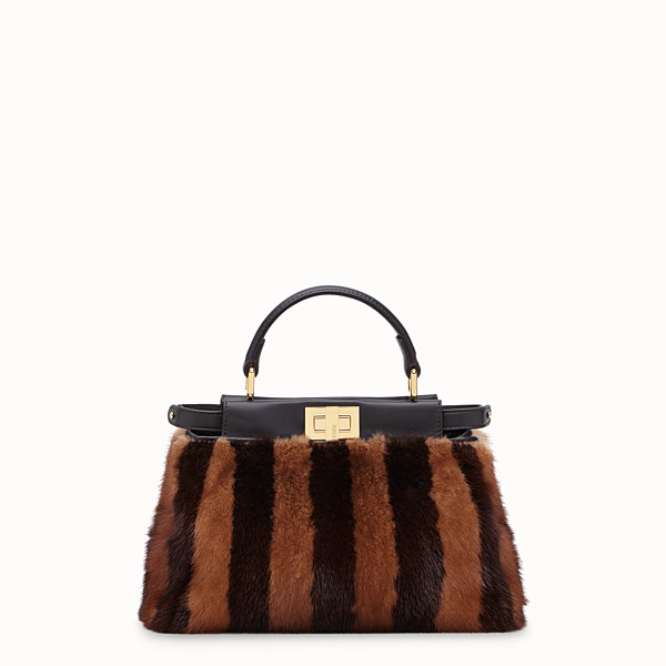 FENDI PEEKABOO ICONIC MINI - Sac en vison noir - view 1 small thumbnail
