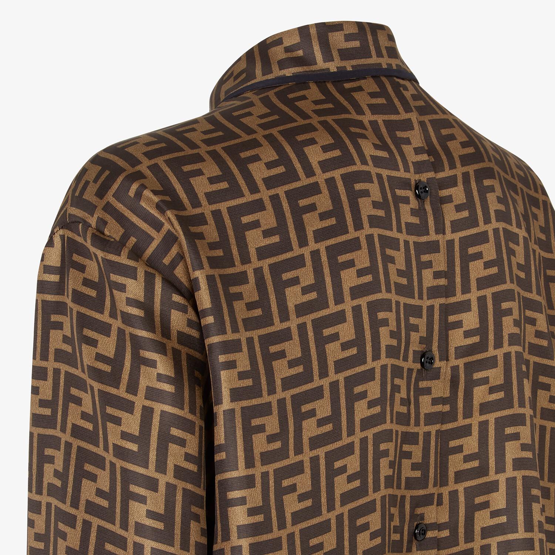 FENDI SHIRT - Brown twill shirt - view 3 detail