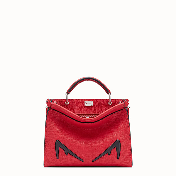 FENDI PEEKABOO ICONIC FIT MINI - Red Romano leather bag - view 1 small thumbnail
