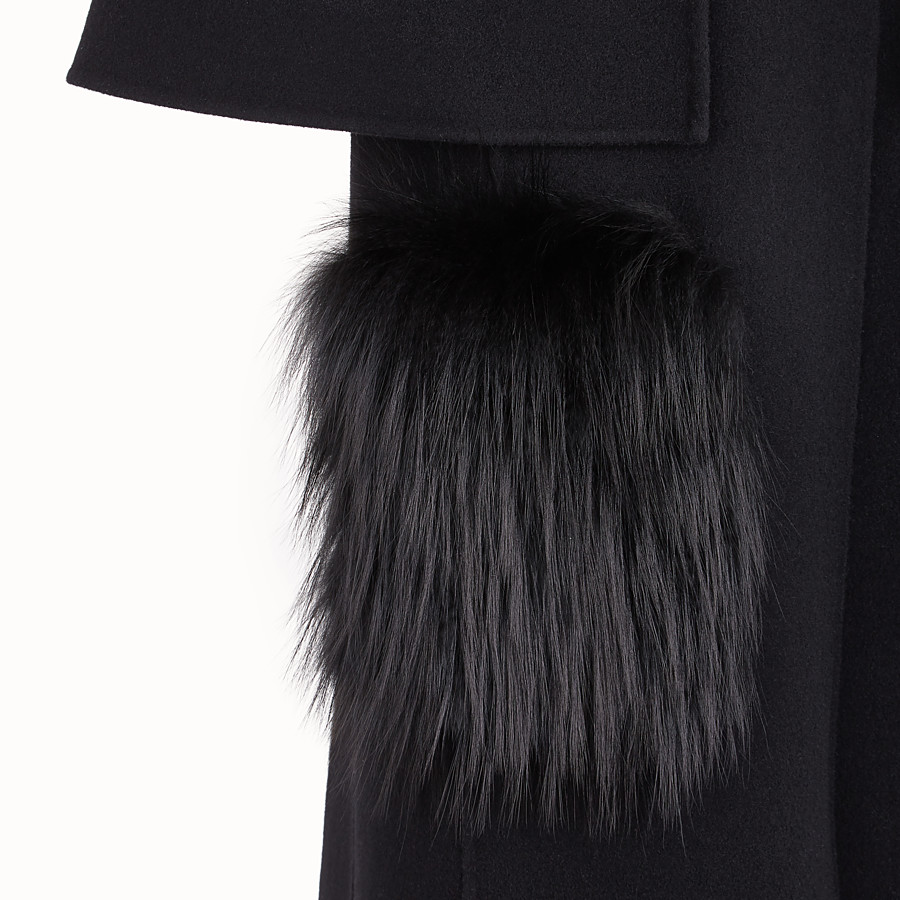 FENDI OVERCOAT - Black wool coat - view 3 detail