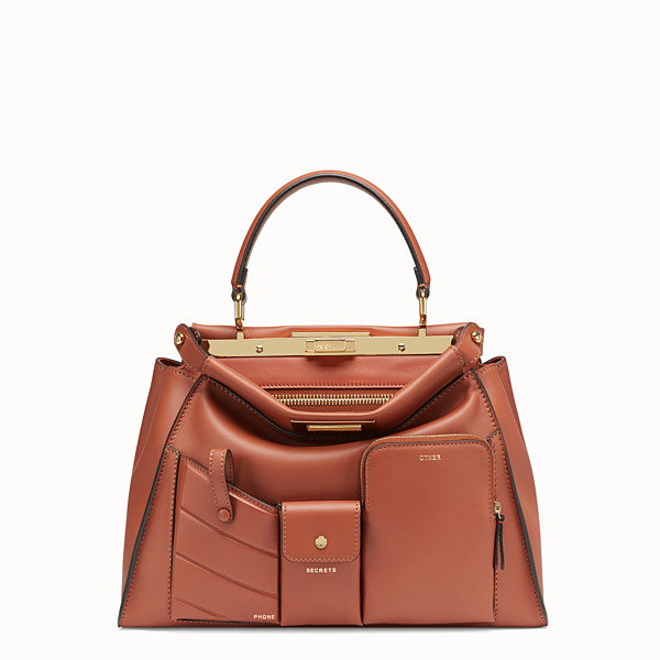 FENDI PEEKABOO REGULAR POCKET - Brown leather bag - view 1 small thumbnail