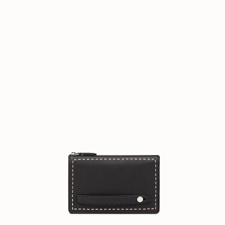 FENDI CLUTCH - in black Roman leather with metallic stitching - view 1 detail