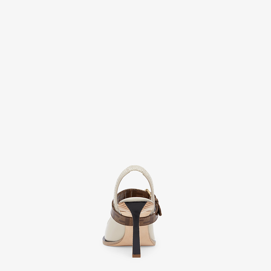 FENDI SLINGBACKS - Slingbacks in glossy gray neoprene - view 3 detail