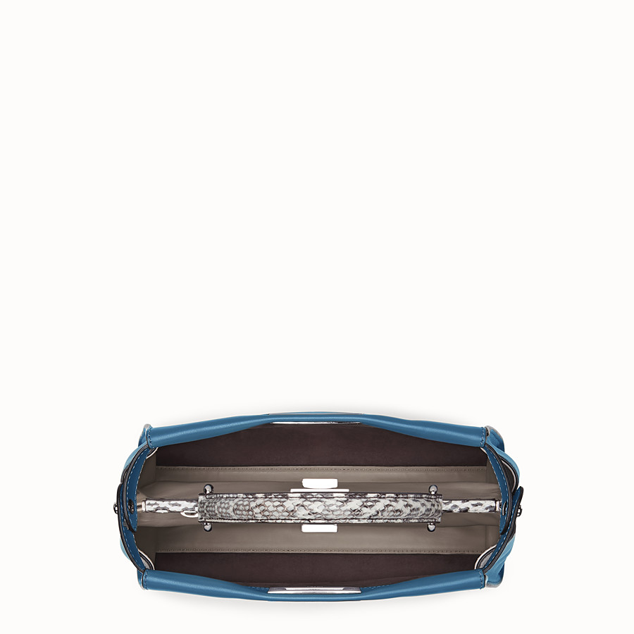 FENDI PEEKABOO REGULAR - Pale blue leather bag with exotic details - view 4 detail