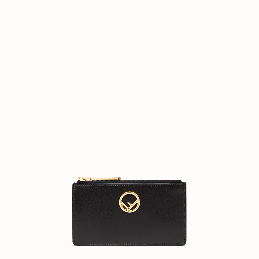 FENDI CARD POUCH - Black leather pouch - view 1 detail