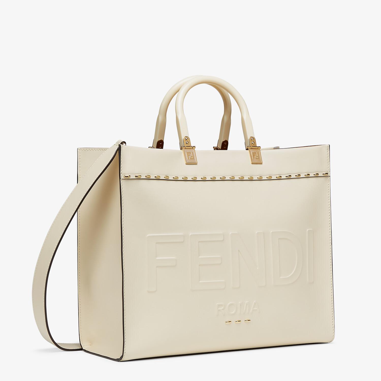 FENDI FENDI SUNSHINE MEDIUM - White leather shopper - view 3 detail