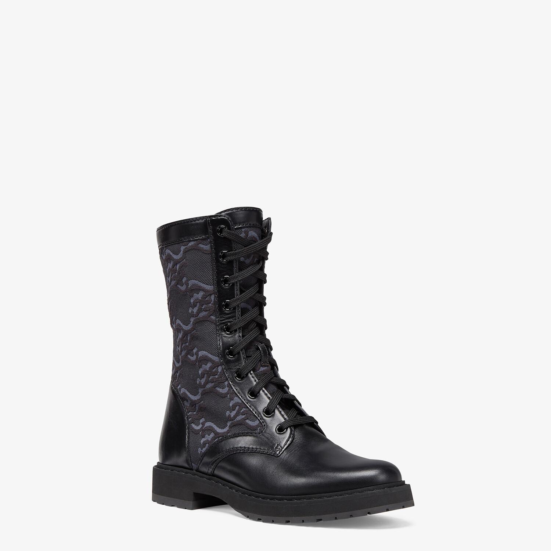 FENDI SIGNATURE - Black leather biker boots - view 2 detail
