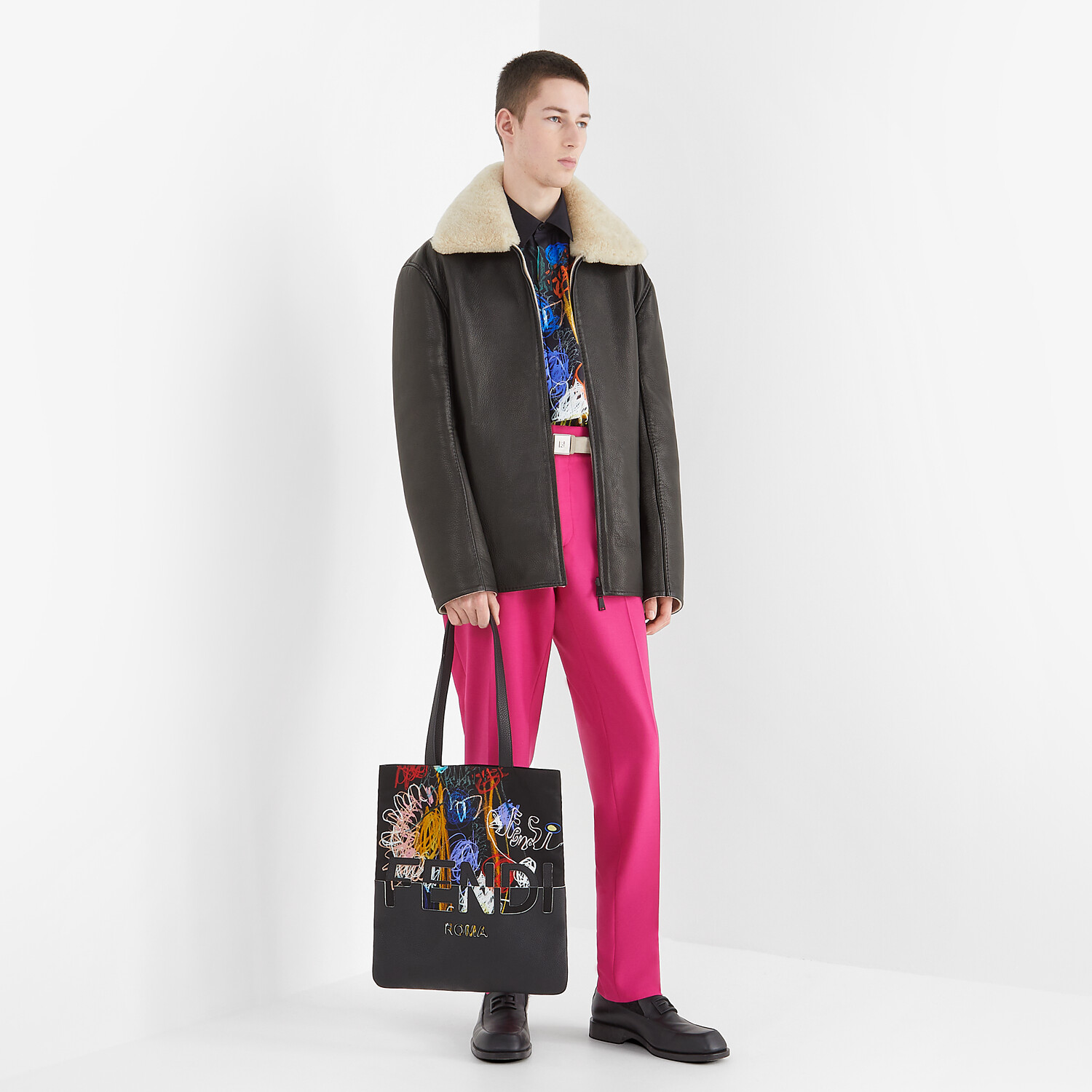 FENDI FLAT SHOPPING BAG - Multicolor nylon and leather bag - view 6 detail