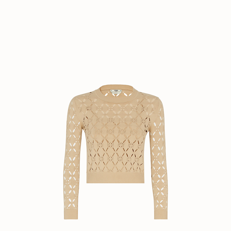 FENDI PULLOVER - Beige fabric jumper - view 1 detail