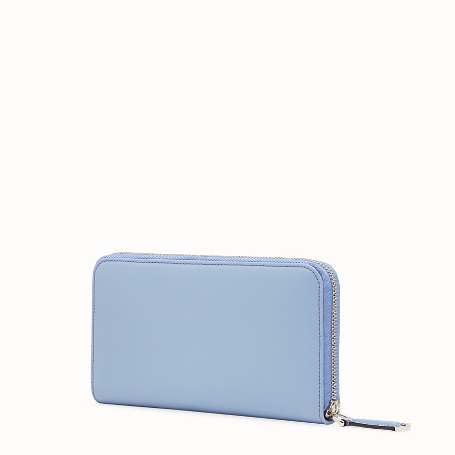 FENDI ZIP-AROUND - Light blue leather wallet - view 2 detail
