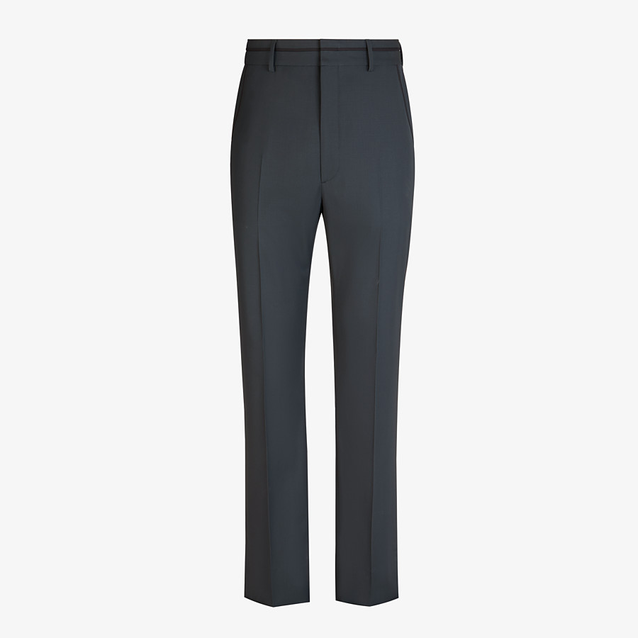 FENDI TROUSERS - Grey twill trousers - view 1 detail