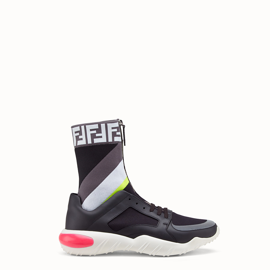 FENDI SNEAKERS - Multicolour tech fabric high-tops - view 1 detail