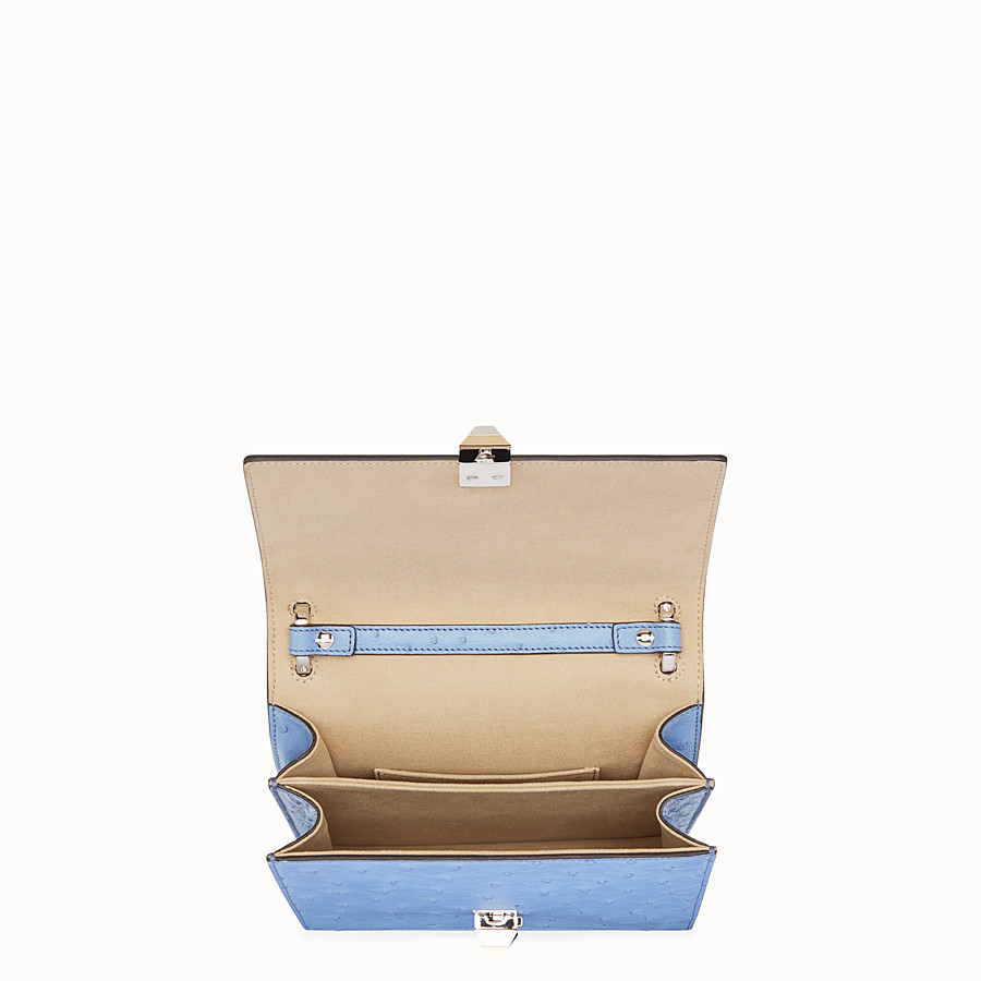 FENDI KAN I SMALL - Light blue ostrich mini-bag - view 4 detail