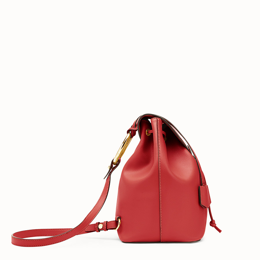 FENDI BACKPACK - Red leather backpack - view 2 detail