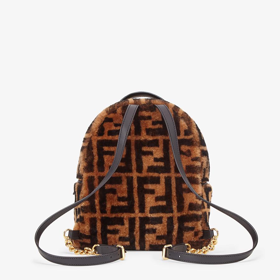 FENDI MINI BACKPACK - Small backpack in brown sheepskin - view 4 detail