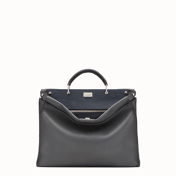 FENDI PEEKABOO ICONIC FIT - Grey leather Selleria bag - view 1 small thumbnail