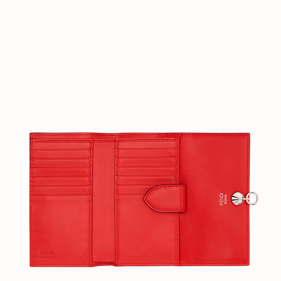 FENDI CONTINENTAL MEDIUM - Slim continental wallet in red leather - view 5 detail