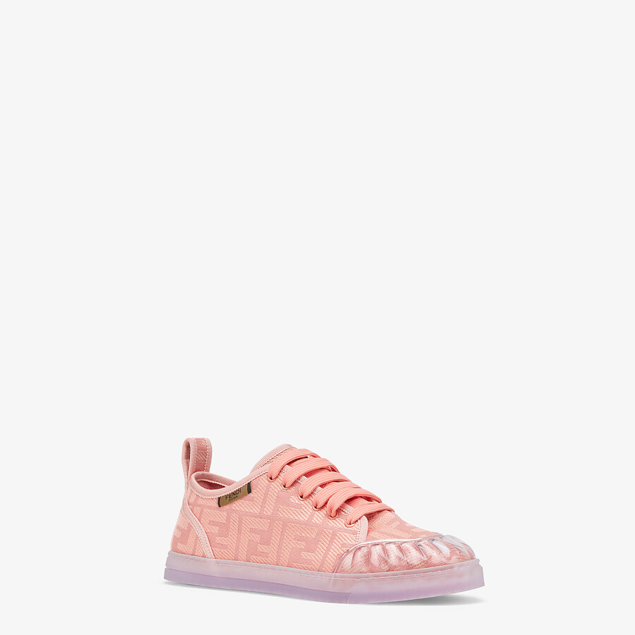 FENDI SNEAKERS - Pink canvas low tops - view 2 detail