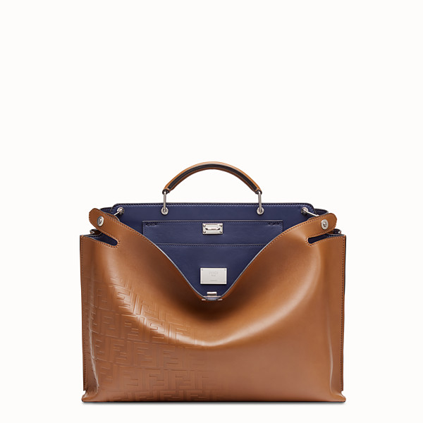 FENDI PEEKABOO ICONIC ESSENTIAL - Brown vacchetta leather bag - view 1 small thumbnail
