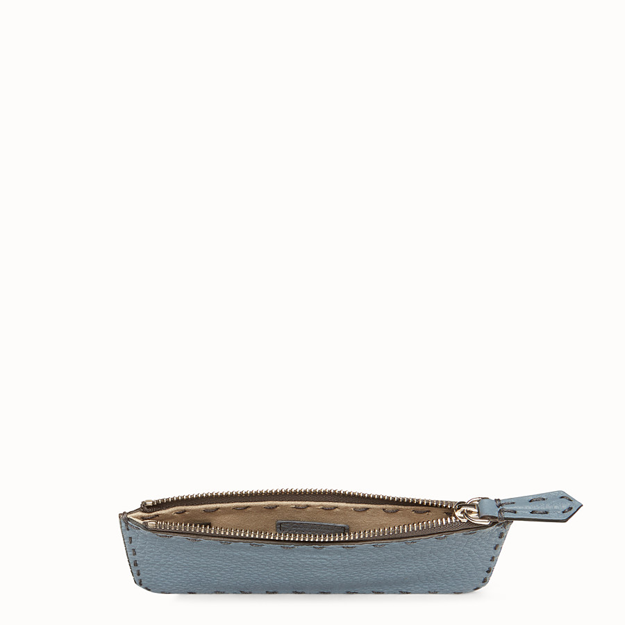 FENDI CARD POUCH - Pale blue leather pouch - view 4 detail