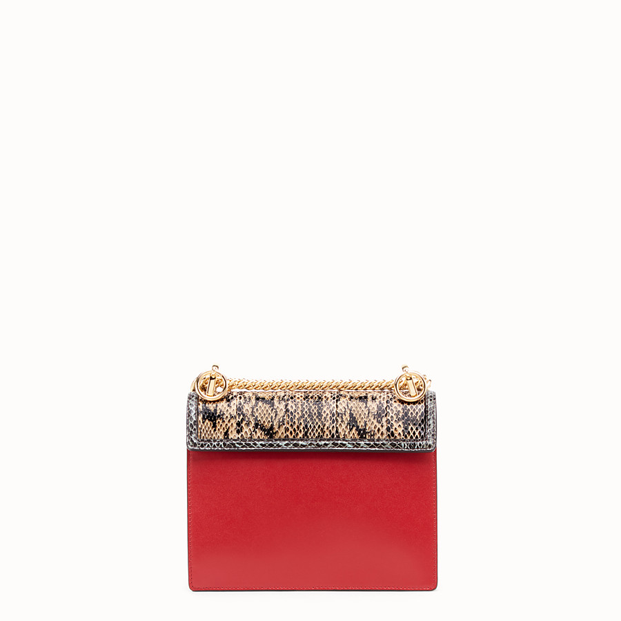 FENDI KAN I SMALL - Red leather mini-bag with exotic details - view 3 detail