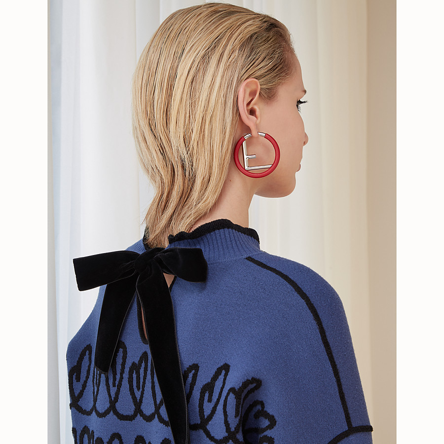 FENDI F IS FENDI EARRINGS - Red nappa leather earrings - view 2 detail