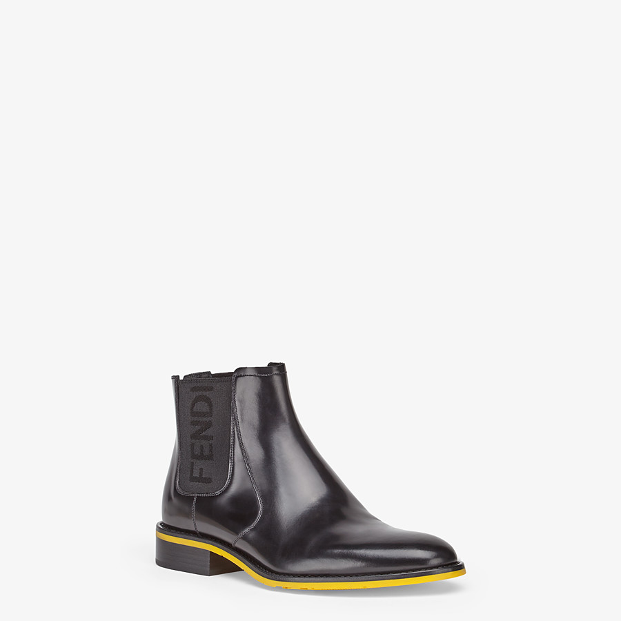 FENDI ANKLE BOOTS - Black leather Chelsea boots - view 2 detail