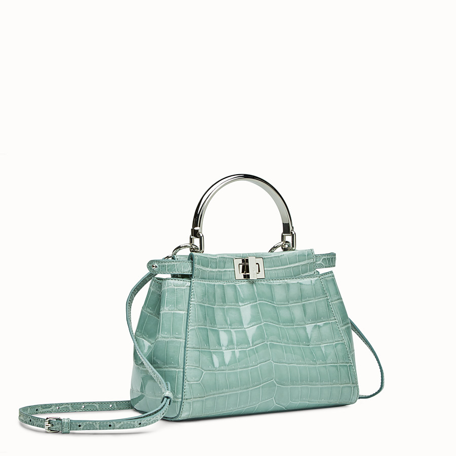 FENDI PEEKABOO MINI - Mint green crocodile leather handbag. - view 2 detail