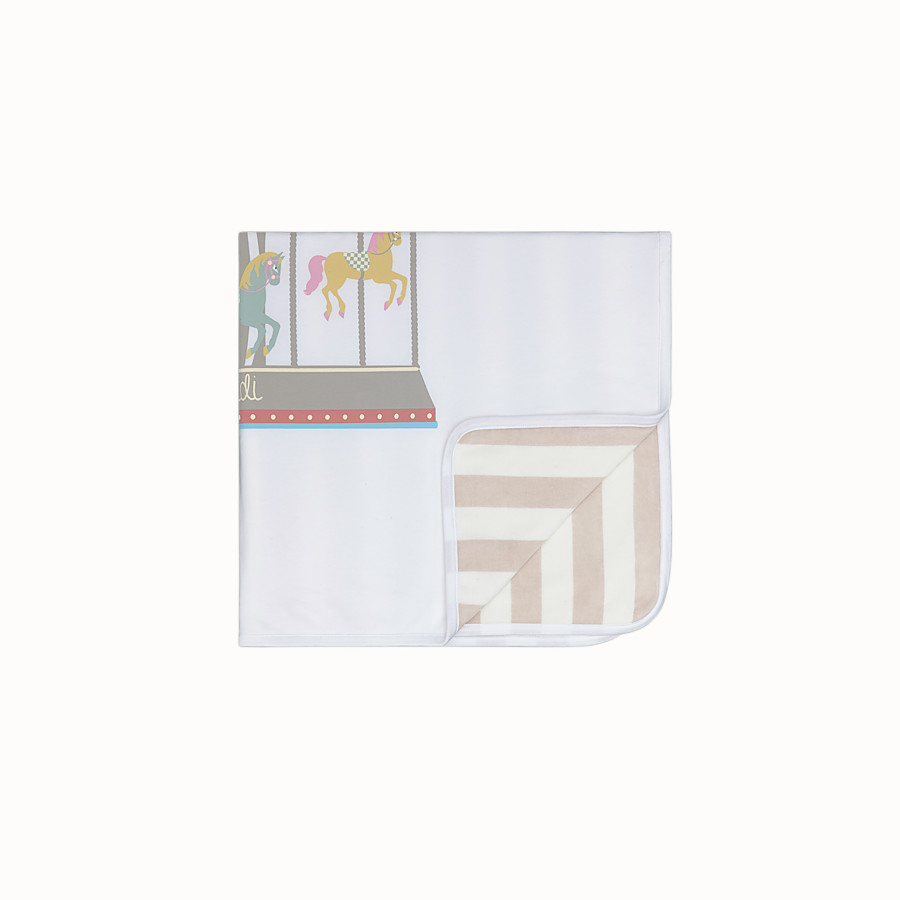FENDI SMALL BLANKET - Ivory, beige and multicolour cotton and chenille blanket - view 1 detail